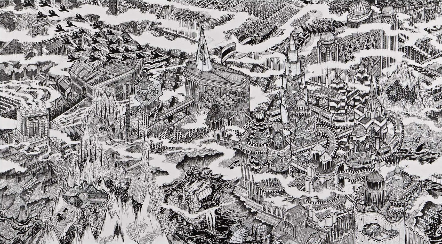 KWANCHAI_Cities-and-Armies_2013_Ink-on-canvas_135x250cm